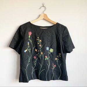 Vintage Linen Embroidered Blouse Cottage Core 10 L